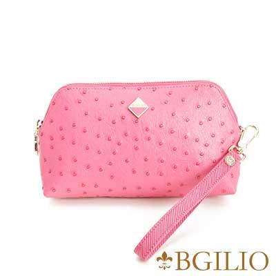 義大利BGilio 時尚駝鳥紋牛皮化妝包(大)-桃紅1963.307A-14