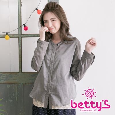 betty's貝蒂思 日系蕾絲拼接排扣長袖襯衫(灰色)