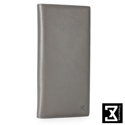 74盎司 Plain 系列平紋真皮長夾[N-466]灰色