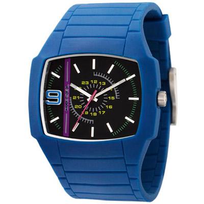 DIESEL 自我色彩個性時尚腕錶-黑藍/45mm