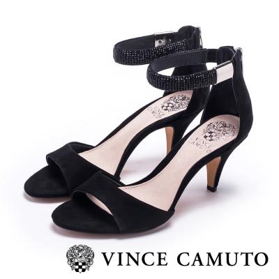 VINCECAMUTO水鑽繞踝質感麂皮涼鞋-黑色