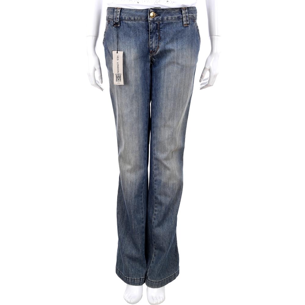 YES LONDON 藍色仿舊刷色牛仔長褲