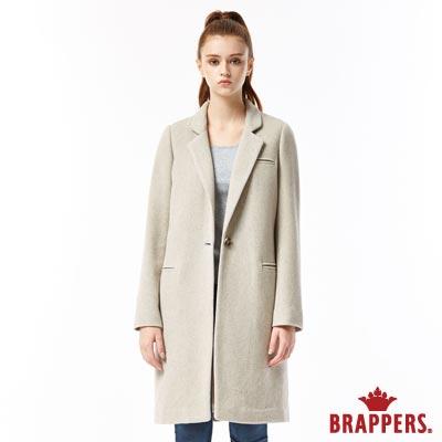 BRAPPERS 女款 合身長版毛料大衣-淺駝
