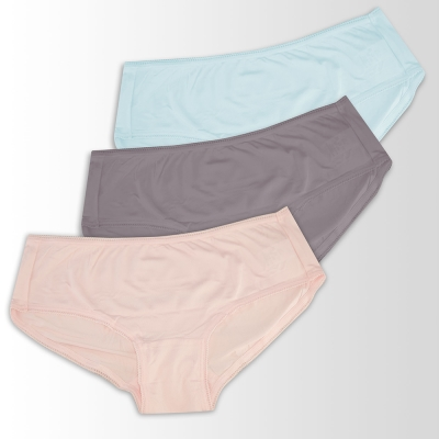 蕾黛絲-伴你一生-精梳棉 棉褲內褲三件包(高腰)M-EQ 粉膚/灰/藍