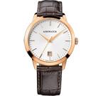 AEROWATCH 歐風雅仕經典時尚腕錶-玫瑰金框x咖啡/40mm