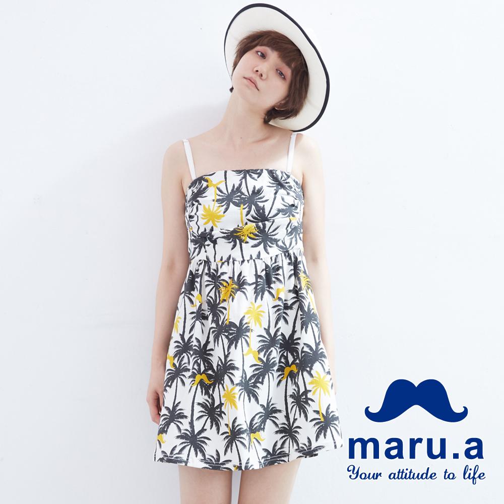 maru.a麻洛野 棕櫚樹LOGO圖案平口洋裝