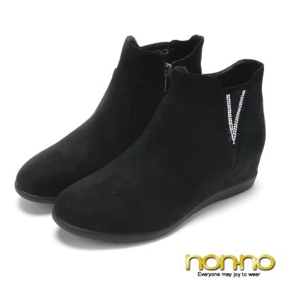 nonno V型水鑽優雅絨布短靴-黑