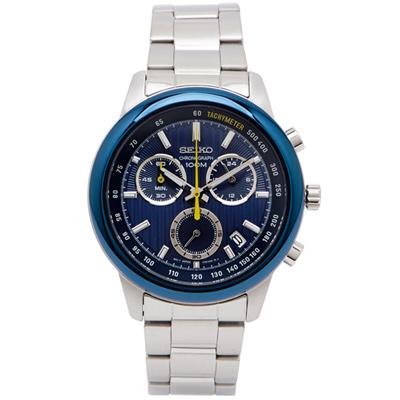 SEIKO 藍色雅痞風男性計時手錶(SSB207P1)-藍面X銀色/42mm