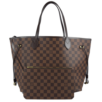 LV N41358 NEVERFULL MM 棋盤格紋子母束口購物包.中