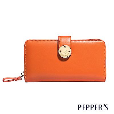 PEPPER`S  Farah 牛皮掀蓋長夾 - 暖陽橘