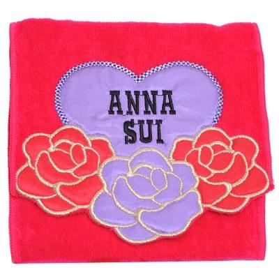 ANNA SUI 優美玫瑰愛心字母刺繡圖騰機能方巾袋(桃紅)