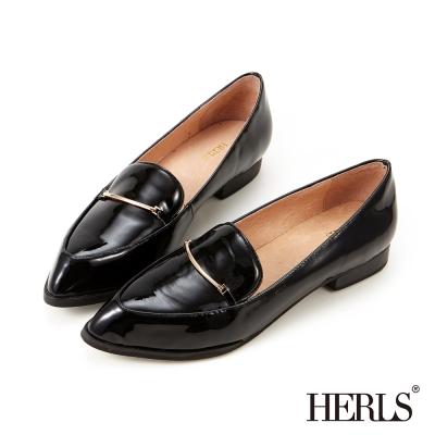 HERLS-鞋匠手作-英倫漆皮金釦樂福鞋-黑色