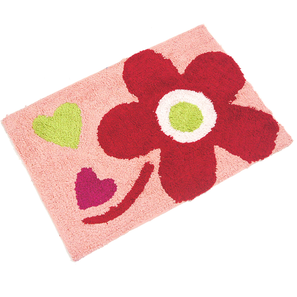 布安於室-花心純棉踏墊-紅粉色(2入)