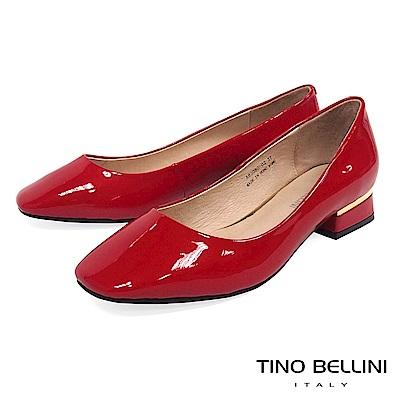 Tino Bellini 原色漆皮方頭低跟鞋_ 紅