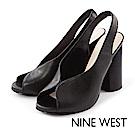 NINE WEST-後拉帶V型魚口粗跟高跟鞋-質感黑