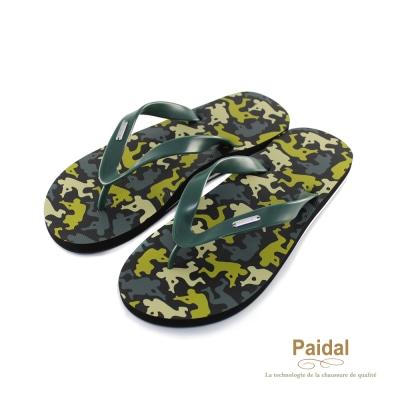 Paidal 男款軍風迷彩夾腳拖海灘拖人字拖鞋-綠