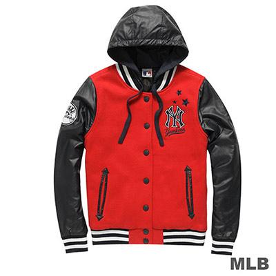 MLB-紐約洋基隊皮袖連帽繡花棒球外套-紅-女
