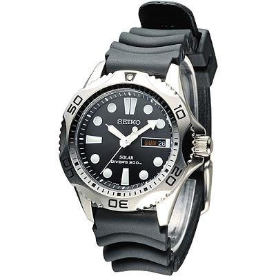 SEIKO 太陽能深海威龍潛水200米潛水錶(SNE107P2)-黑/41mm