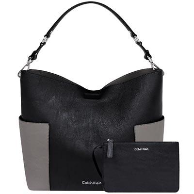Calvin Klein 黑色皮革雙面托特包-附手拿包