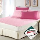 精靈工廠 雙色幸運草系列3M防潑水加大三件式舖棉平單保潔墊-粉紅+桃紅