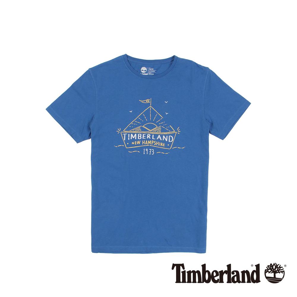 Timberland 男款亮藍色品牌印花修身短袖T恤