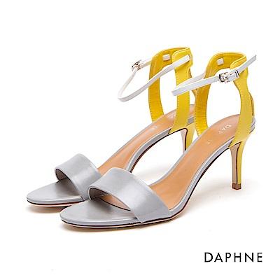 達芙妮DAPHNE 涼鞋-一字帶拼接撞色細高跟涼鞋-灰