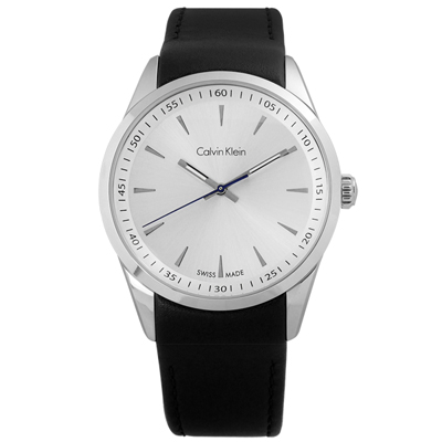 CK 卓越自信質感皮革腕錶-銀x黑/44mm