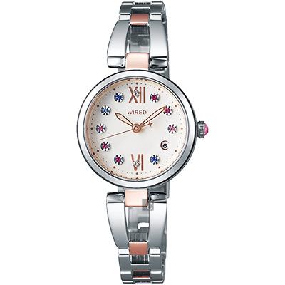 WIRED f 東京聖誕限定晶鑽女錶(AY8015X)-米色x雙色版/26mm