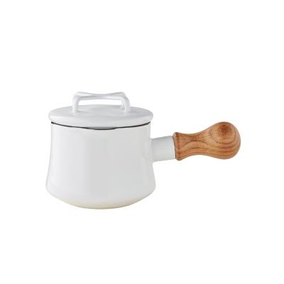 DANSK-琺瑯單耳燉煮鍋13cm-白色