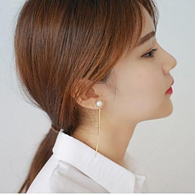 梨花HaNA-韓國熱賣注目珍珠直線簡潔耳環夾式銀色系