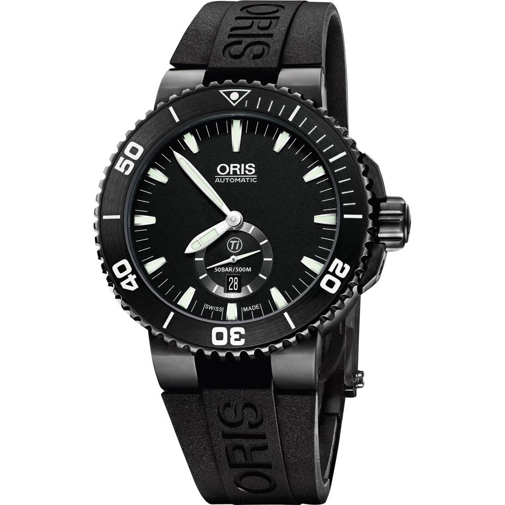 Oris豪利時 Aquis 鈦 專業潛水小秒針機械錶-黑/46mm