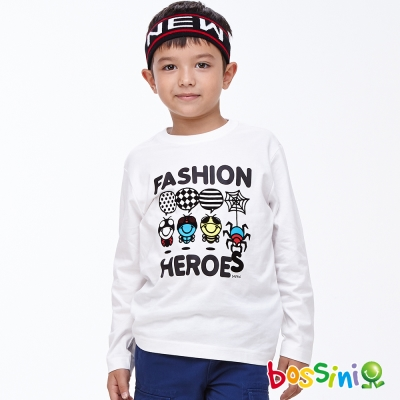 bossini男童-印花長袖T恤02珍珠白