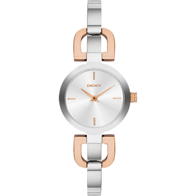 DKNY 紐約雙D時尚優雅風女錶-銀x雙色版/24mm