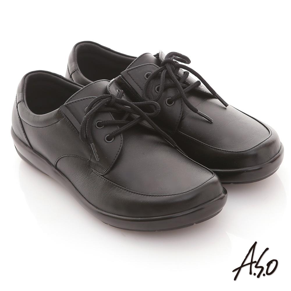A.S.O 學生鞋款 全真皮素面綁帶氣墊鞋 黑 @ Y!購物