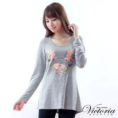 Victoria 繽紛花園印花TEE-女-灰