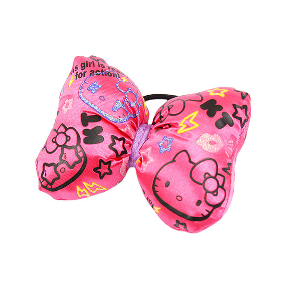 《Sanrio》KITTY*寶石寵物街舞炫風系列KITTY大緞帶髮束(粉)
