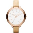 Michael Kors 都會時尚伸展台薄型腕錶-白x玫瑰金
