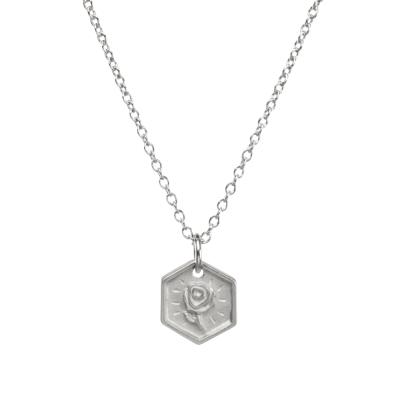 Dogeared token of gratitude 完美六邊形銀色項鍊 手工浮雕玫瑰