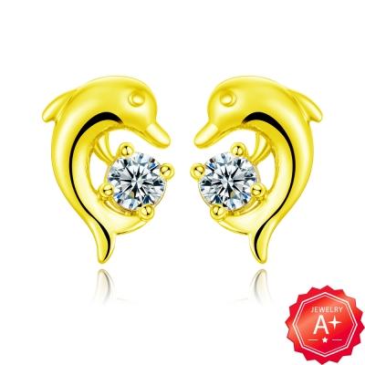 A+ 海豚黃金耳環