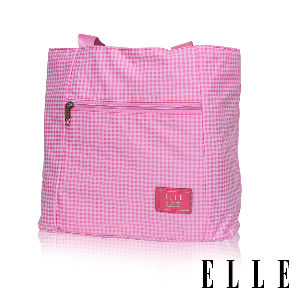 ELLE 輕旅休閒可掛式摺疊收納尼龍手提肩背包- 格紋粉 EL82357