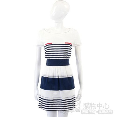 PHILOSOPHY-AF 白色海軍風條紋短袖洋裝