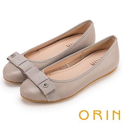 ORIN 微甜新時尚 織帶蝴蝶結牛皮平底娃娃鞋-灰色