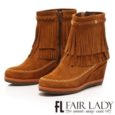 Fair Lady 雙層流蘇嬉皮風楔型短靴 棕