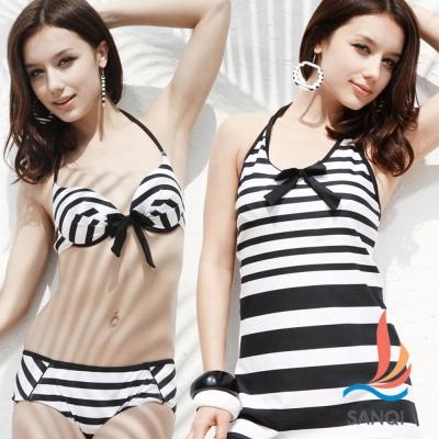 SANQI三奇 盛夏好感 三件式鋼圈比基尼泳裝 泳衣(黑M~XL)