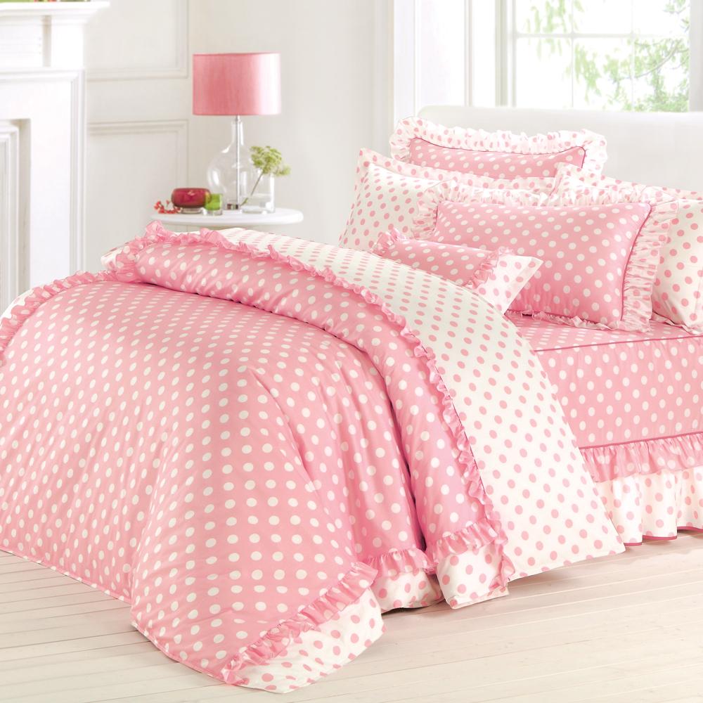 法國MONTAGUT - 甜蜜馬卡龍(粉) - 雙人七件式鋪棉床罩組