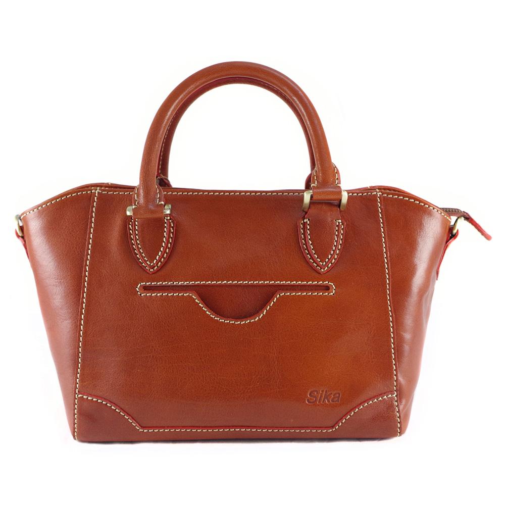 Sika義大利時尚2用真皮船型提包M6159-01/深椰褐