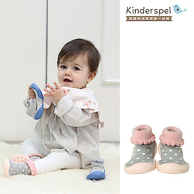 Kinderspel 輕柔細緻.套腳腳襪型學步鞋(點點餅乾灰)