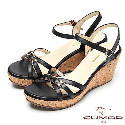 CUMAR時尚品味-經典造型船形跟真皮涼鞋-黑