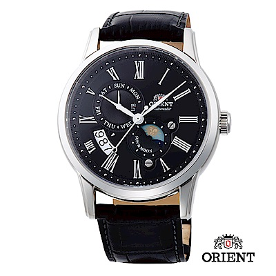 ORIENT 東方錶 SUN&MOON系列 日月相錶 皮帶款 黑色-42.5mm