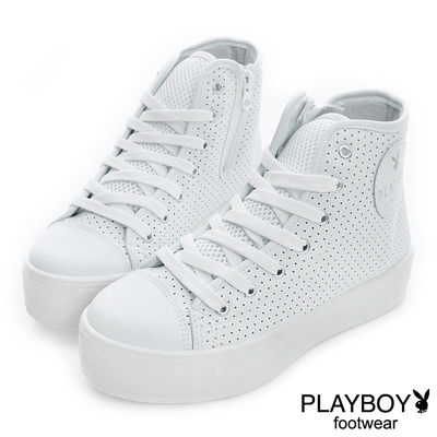 PLAYBOY-復古新潮-仿皮洞洞厚底休閒鞋-白-女